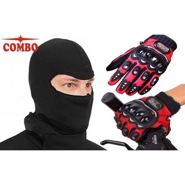 Red Combo Pro-Biker Gloves + Balaclava