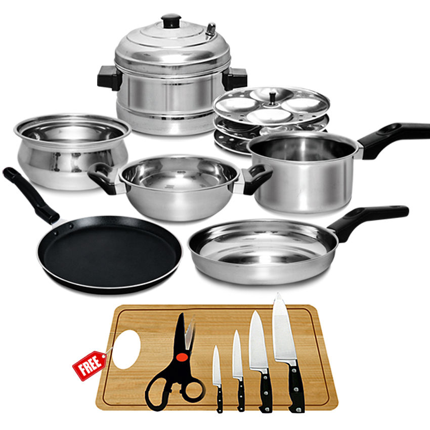 buy 7 pcs induction friendly cookware set free knife set chopping board akso online at. Black Bedroom Furniture Sets. Home Design Ideas