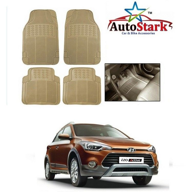 Buy Autostark Premium Quality Beige Rubber Car Foot Mat