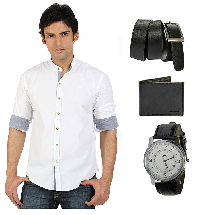 Combo Of Go Untucked Casual Shirt Watch Wallet Belt