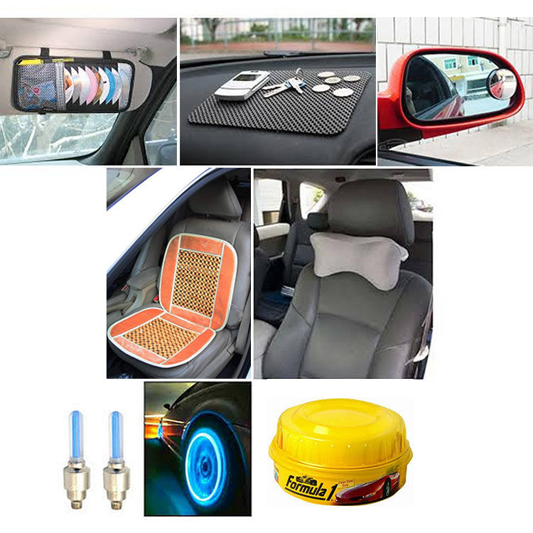 buy combo of car accessories car seat beads dvd visor mirror mat neckrest polish. Black Bedroom Furniture Sets. Home Design Ideas
