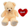 24 Inches Teddy Bear with Heart Shape Pillow - Cream