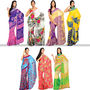 Alluring Set of 7 Printed Georgette Sarees (7G11) - AKSO