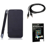 Combo of Camphor Flip Cover (Black) + Screen Guard + Aux Cable for Sony Xperia E