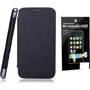 Combo of Camphor Flip Cover (Black) + Screen Guard for Micromax A200