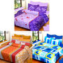 Set of 3 IWS Cotton Printed Double Bedsheet with 6 Pillow Covers-CB1393