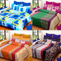 Set of 4 IWS Cotton Printed Double Bedsheet with 8 Pillow Covers-CB1453