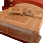 Little India Double Bedcover with 2 Cushion Cover and 2 Pillow Cover - Beige
