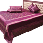 Little India Double Bedcover with 2 Cushion Cover and 2 Pillow Cover - Purple