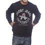 Delhi Seven Printed Round Neck Woolen Sweatshirt For Men - Black