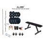 Protoner Weight Lifting Home Gym 100 Kg + Flat Bench + 4 Rods (1 Zig Zag) + Accessories