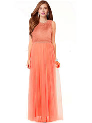 Styles Closet Plain Net Stitched Orange Gown -Bnd-10001