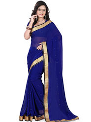 Viva N Diva Chiffon Lace Border Saree 10093-Peacock-Vol-02