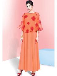 Viva N Diva Embroidered Faux Georgette Semi Stitched Salwar Suit -11086-Blush-06