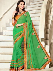 Indian Women Printed Georgette Green Designer Saree -Ic11305