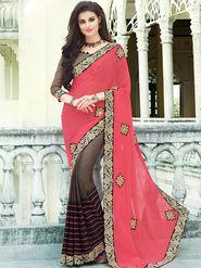 Indian Women Printed Georgette Pink & Brown Designer Saree -Ic11317