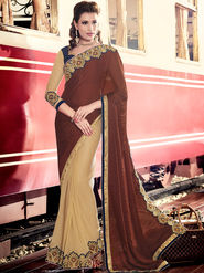 Indian Women Embroidered Maroon and Beige Satin Chiffon Saree -MG12408