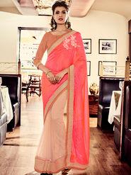 Indian Women Embroidered Pink Silk Saree -MG12413