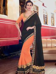 Indian Women Embroidered Black and Orange Marble Chiffon Saree -MG12417