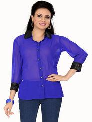 Ishin Georgette Solid Ladies Top - Blue_INDWT-133