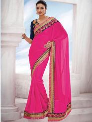 Bahubali Georgette Embroidered Saree - Magenta_GA.50114