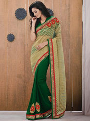 Bahubali Jacquard Embroidered Saree - Gold_GA.50128