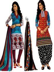 Pack of 2 Priya Fashions Cotton Printed Dress Material - PFS2CG