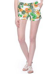 Lavennder Cotton Printed Ladies Short - White_LW-5144