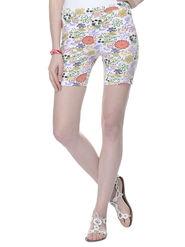 Lavennder Cotton Knitted Lycra Printed Short  - White_LW-5170