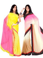 Pack of 2 Zoom Fabrics Embroidered Chiffon Saree_2714-B,2716-B