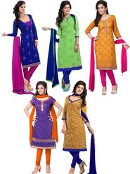 Combo of 5 Florence Chanderi Cotton Embroidered Dress Material -C5Cc