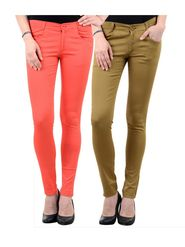 Pack of 2 Women Slim Fit Cotton Lycra Stretchable Trouser - TGLCH-36
