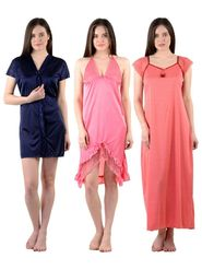 Pack of 3 Stylish Satin and Hosiery Women Nighties - AENTY-020916