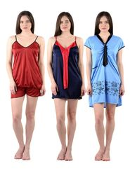 Pack of 3 American-Elm Women Satin Nighty - AENTY-041418