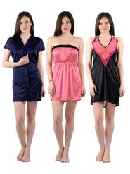 Pack of 3 American-Elm Women Satin Nighty - AENTY-060922