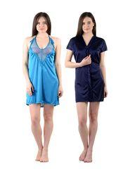 Pack of 2 American-Elm Women Satin Nighty - AENTY-0709