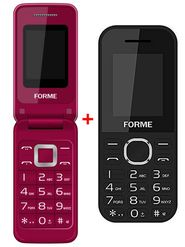 Combo of Forme K09 Feature Phone (Gray) + Forme C3520 Flip Phone (Red)