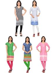 Combo Of 5 Thankar Printed PolyCotton Kurtis - THN-02