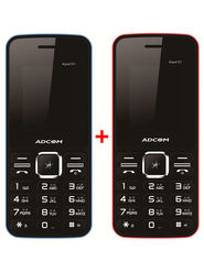 Combo of Adcom 121 Dual Sim Feature Phone (Black & Blue + Black & Red)
