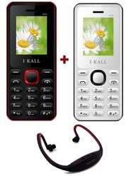 Combo of I Kall K66 1.8 Inch Dual Sim Mobile (Black & White) + Neckband for Music