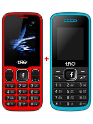 Combo of Trio Dual SIM Feature Phone (T4 Star - Blue + T3 Star - Red)