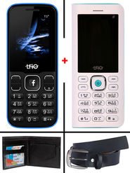Combo of Trio ( T5000 Powerbank cum Feature Phone - White + T3 Star - Royal Blue ) with Belt & Wallet