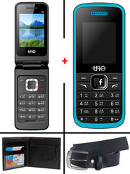 Combo of Trio Dual SIM Feature Phone (T8 Flip Phone + T4 - Royal Blue) with Belt and Wallet