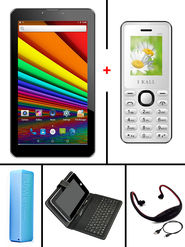Combo of  I Kall N1 3G Calling Tablet -White + K66 Feature Phone -White + 7 inch Universal Keyboard + 2600 mAh Powerbank + Neckband for Music & Sport