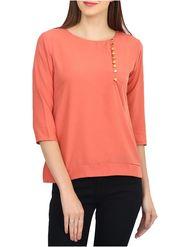 Lavennder Plain Crepe Orange Top -Lw5471