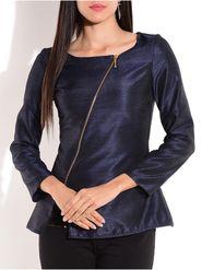 Lavennder Plain Silk Blend Navy Blue Top -Lw5440