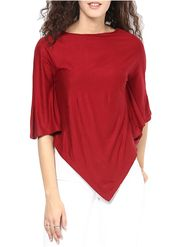 Lavennder Plain Viscose Red Top -Lw5447
