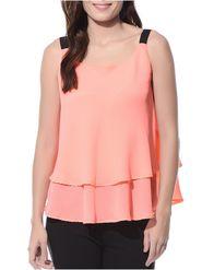 Lavennder Plain Crepe Orange Top -Lw5456