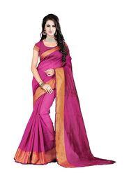 Bhuwal Fashion Plain Polycotton Pink Designer Saree -bhl06