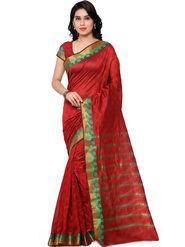 Viva N Diva Plain Banarasi Silk Red Saree -vs01